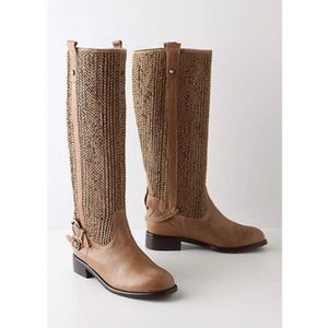 Anthropologie Woven Saddle Boots